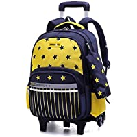 KJRJLG Rolling Backpack Kids Backpack Wheeled Backpack School Backpack with Wheels (Color : Yellow)