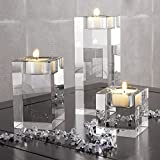 DecentGadget Heavy Clear Crystal Tea Light Holder Cuboid Candle Holder for Party Ceremony Wedding Centerpiece Home Decoration