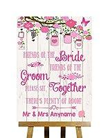 ピンク素朴な木製の友人の花婿と花嫁no Seating計画ウェディングSign Small A5