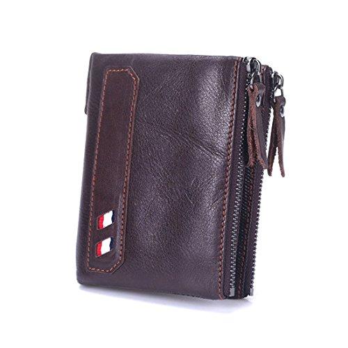 ONSTRO 二つ折り 財布 メンズ ダブルファスナー ウォレット 小銭入れ カード7枚収納 本革 柔らかい 茶色