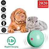 Kingtree Smart Interactive Cat Toy Ball, USB Rechargeable Automatic Rolling Ball for Cats, 360 Degree Self Rotating Toy with Build-in Spinning Light, Stimulate Hunting Instinct Chaser Ball for Kitten