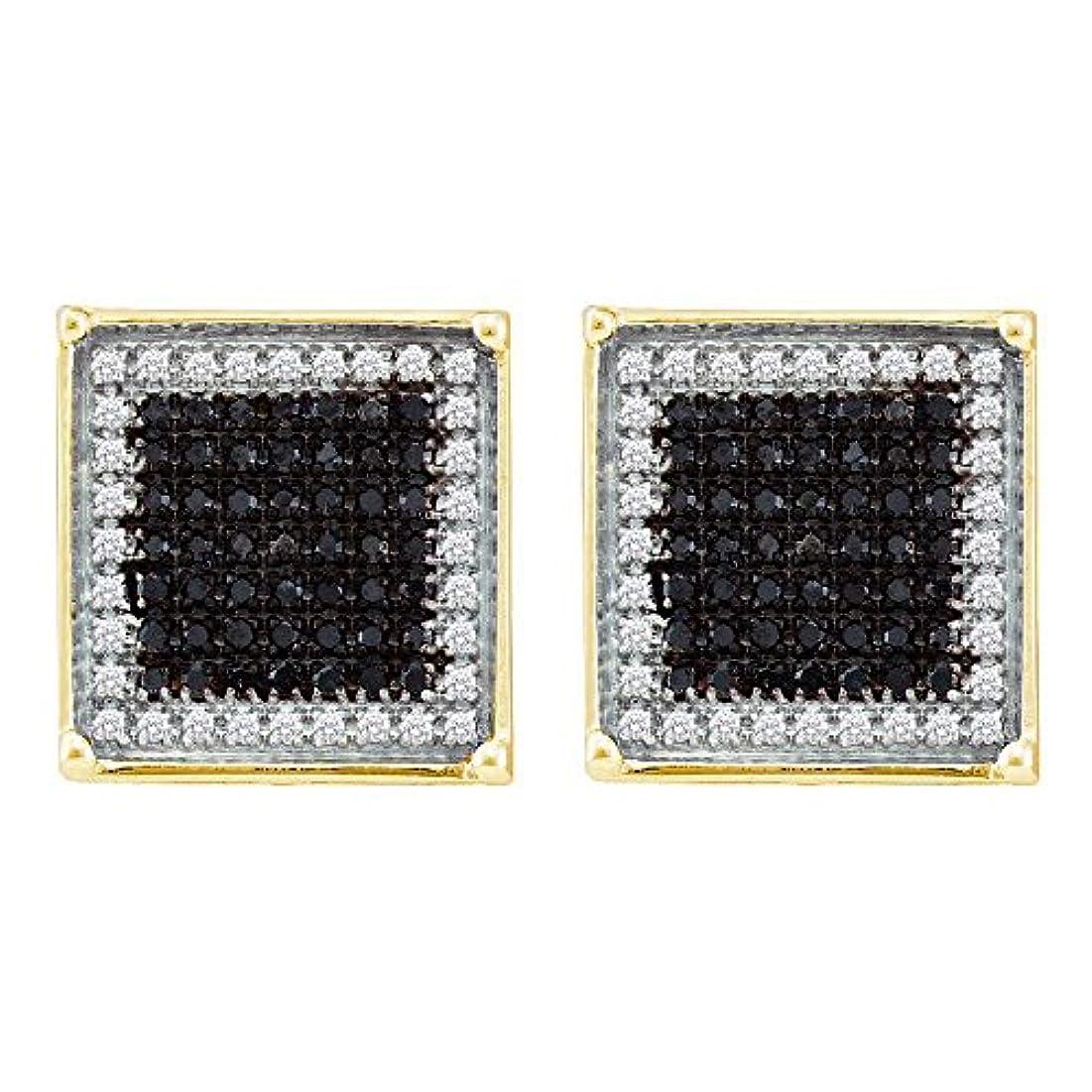 嫌がる酸素メカニックRoy Rose Jewelry 10K イエローゴールド メンズ ラウンド ブラックカラー 強化ダイヤモンド スクエアフレーム クラスターピアス 7/8カラット tw