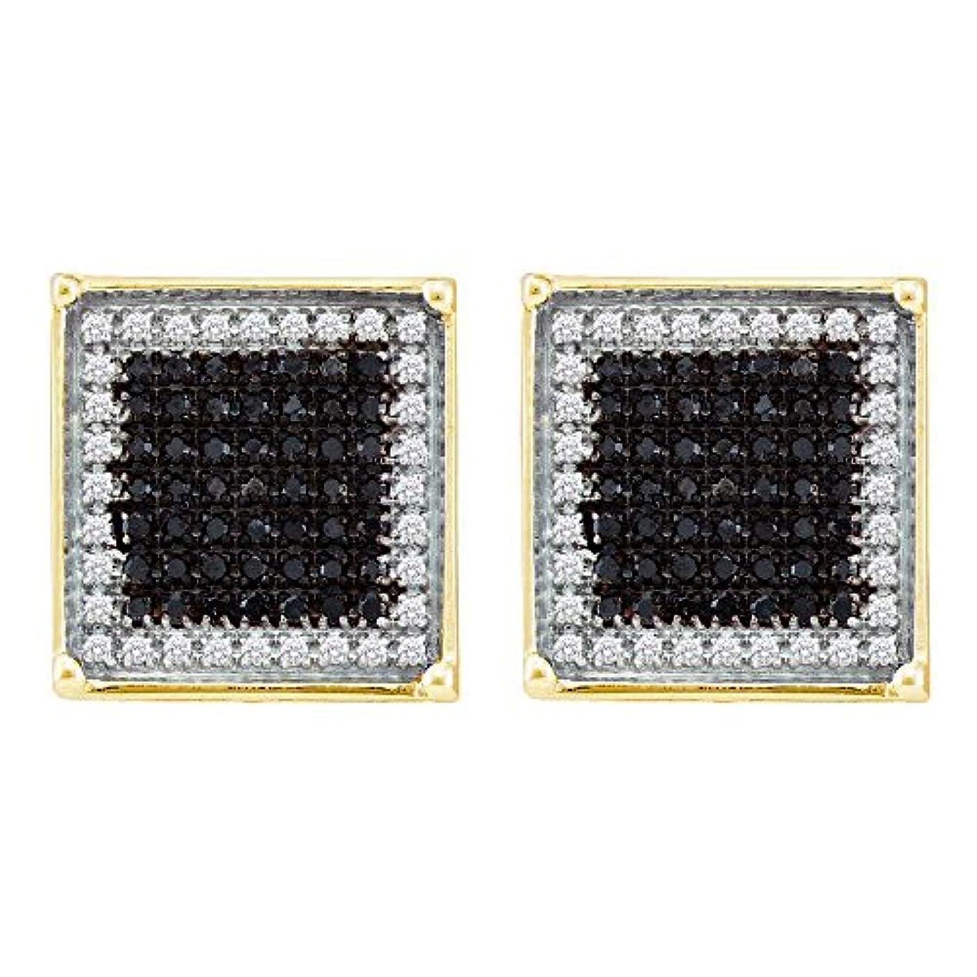 バラエティ労働者放射能10 KTイエローゴールドメンズラウンドブラックカラーEnhancedダイヤモンド正方形フレームクラスタイヤリング7 / 8 cttw
