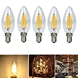 Chrasy 5個入 レトロ E14 電球 4W LEDキャンドルフィラメント C35電球、相当 30 W白熱電球、330ルーメン、電球色 3000 K、シャンデリア、壁ランプ、キャンドルライト、高演色E14 LED電球