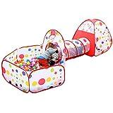 子供用テント EocuSun セット 折り畳み式 トンネル バスケットネット 収納バッグ付き 秘密基地 お誕生日 出産祝いのプレゼント (赤色)