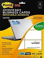 Post - itビジネスカード、ホワイト、穴あき、レーザー&インクジェット、2x 31/ 2インチ(d421-li)