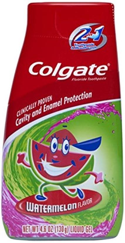 尋ねる対称保護Colgate キッズ2-IN-1歯磨き粉マウスウォッシュスイカ4.60オズ(5パック) 5パック