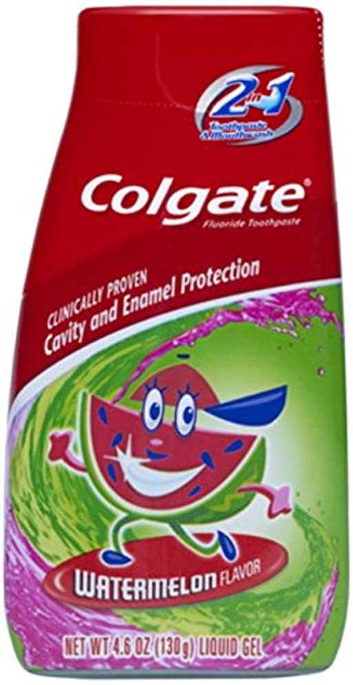 ブランド名俳優シロクマColgate キッズ2-IN-1歯磨き粉マウスウォッシュスイカ4.60オズ(5パック) 5パック