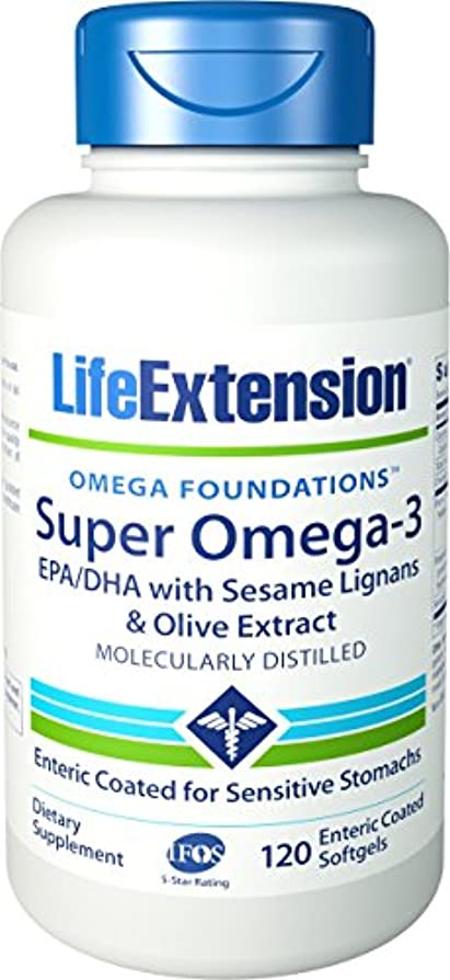 注入六分儀愛撫海外直送品 Life Extension Super Omega-3 EPA/DHA with Sesame Lignans & Olive Fruit Extract, enteric coated, 120 softgels