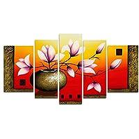 Wiecoアート–エレガントな花の背面壁の装飾花の油絵100手描きのベストセラー木製フレーム付き5点/セット 16x24inchx2pcs,12x32inchx2pcs,12x36inchx1pc FL5044_XL