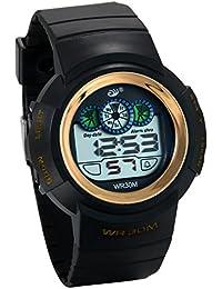 JewelryWe 子供 デジタル腕時計 学生腕時計 デジタル表示 12/24H 3ATM防水 多機能 日付・曜日 アラーム ゴールド