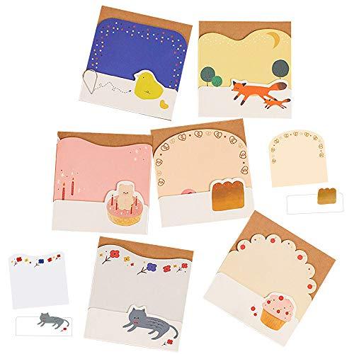 moin moin メモ帳 メモ ノート ミニ アニマル 動物 | 猫 ケーキ パン きつね ひよこ ドーナツ くま / 1種につき60枚入 (各30枚×2種) / 6種セット