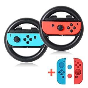 Nintendo Switch joy-Con ハンドル 2個セット MIBOTE レースゲーム マリオカート 8 専用ハンドル 軽量 保護 面白い Joy-Con カバー ニンテンドースイッチ ジョ イコンに適用 任天堂 joy-Con ケース2個付き ブラック (A1)