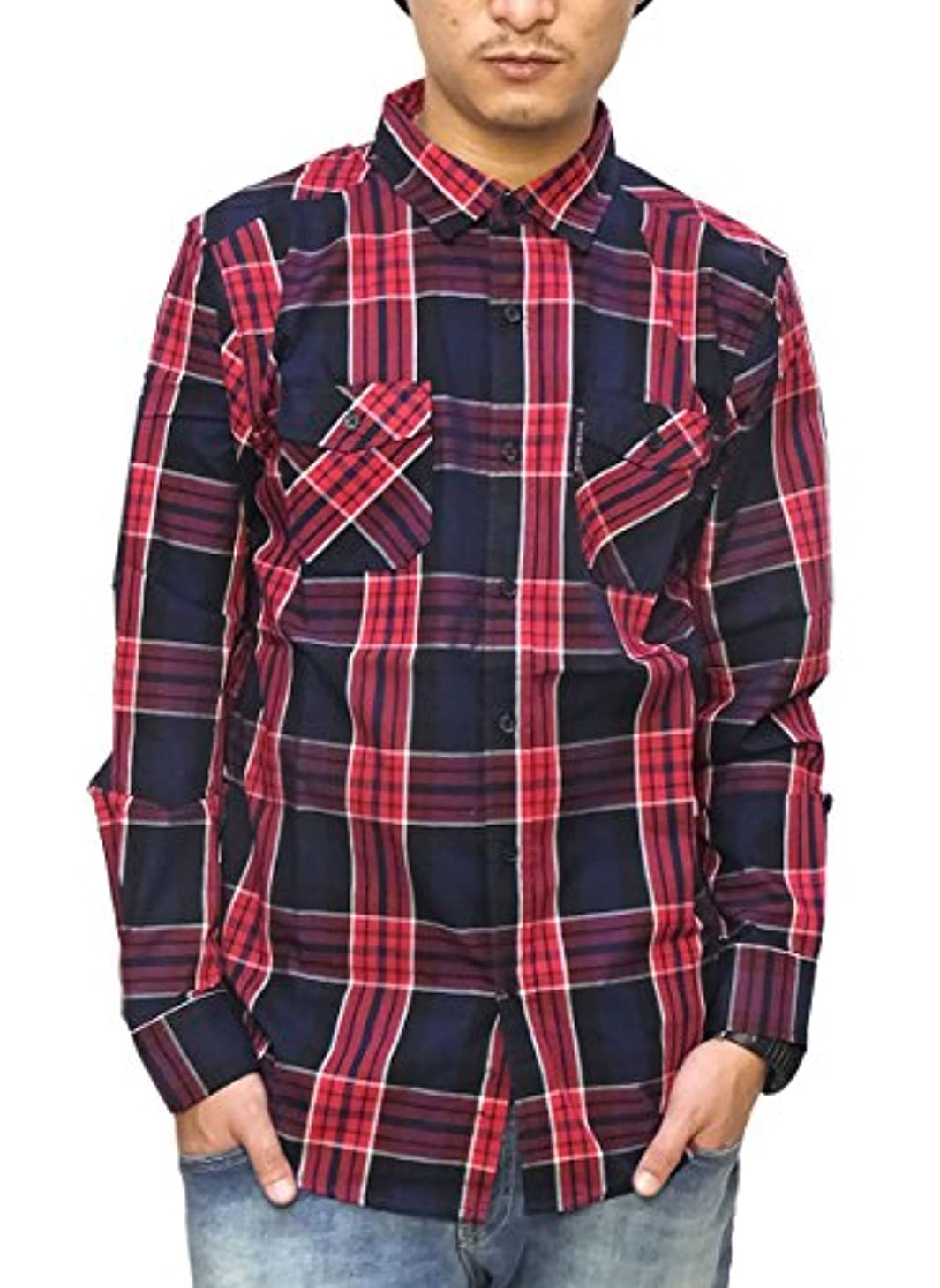 サイクロプス妖精弁護士(エコーアンリミテッド)Ecko Unltd チェックシャツ メンズ 長袖 2カラー MADISON LS WOVEN カジュアル アメカジ 大きいサイズ b系 ストリート系 ファッション