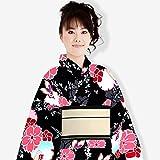 レディース 浴衣単品 スイートリリー 綿素材 変り生地 華やか 雪輪桜 黒系
