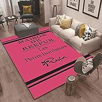 ラグ 洗える ラグマットガールズルームファッショト 北欧 マイクロファイバープラスチック底 絨毯 ビンテージ,Rose-red,120x160cm