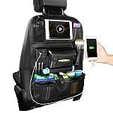 HONCENMAX 車用シートバックポケット 後部座席 収納バッグ 大容量 バックシートポケット 多機能 車内整理 小物入れ 取り付け簡単 PUレザー製 4個USBポートスマホ IPad ティッシュホルダー