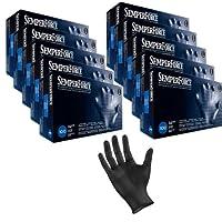 ブラック ニトリル 検査 タトゥ 手袋 粉なし、ラテックスフリー、Semperforce®︎、1箱100枚入り サイズ SM-XXL X-Large ブラック