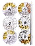 Nail Recipe(ネイルレシピ) ネイルパーツ ブリオン パール 金属パーツ ネイルアート メタルパーツ デコ セルフネイル レジン ネイル 6ケースセット ジェルネイル レジン 大容量タイプ (メタルパーツ)