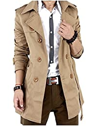 Tootess Men's Contemporary Solid Mid-long Trench Coat Jacket Clothes