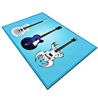 LPD カーペット ラグ・カーペット8ミリメートルエリアラグドアマットカーペット3dギター音楽デザイン滑り止め洗えるコーヒーテーブルパッド用リビングルームの寝室 (色 : D, サイズ さいず : 80x120cm)