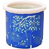 インフレータブルバスタブ、プラスチックパッド入りの浴槽、成人用/子供用家庭用クッション浴槽(70×70cm) (Color : Blue, Size : 70*70cm)
