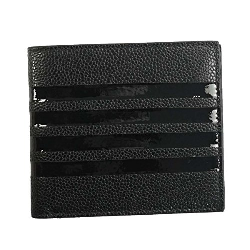 トムブラウン 財布 二つ折り財布 THOM BROWNE MAW069B-00198 BILLFOLD W/TONAL 4 BAR STRIPE IN PEBBLE GRAIN 1 BLACK 並行輸入品