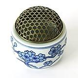 紺釉うめ 蓋銅 香炉 磁器 CH-KOR010(白・透し彫り)