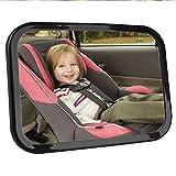 POOPEE ベビーミラー 車用 インサイトミラー 赤ちゃんミラー 車内 後ろ向きチャイルドシートミラー 曲面鏡 後部座席ベビーシート監視 子供の様子を確認する補助ミラー 360度角度・方向調節可能 1年保証