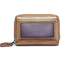 JAUROUXIYUJI Multifunction Leather Zipper Card Purse Business Card Holder for Unisex (Color : Gold)
