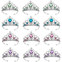 CheeseandU 12Pack Princess Tiara Crown Headpieces Role-Play Rhinestone Crown Dress Up Set for Little Girls Kids Play Jewelry Girls Crown Toy Halloween Costume Accessory Princess Party Favor