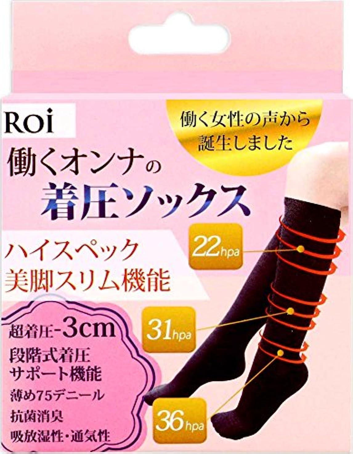 外部おっと普通の(ロイ)Roi 『働く女の 着圧ソックス 』強着圧-3cm ソックス 段階式着圧サポート機能 靴下 (L~LL[23.5~25cm])