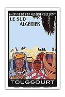 南アルジェリア - トゥグール - 伝統的な俳句を身に付けたアルジェリア人 - ビンテージな鉄道旅行のポスター によって作成された ルイ・フェルネス c.1925 - アートポスター - 31cm x 46cm