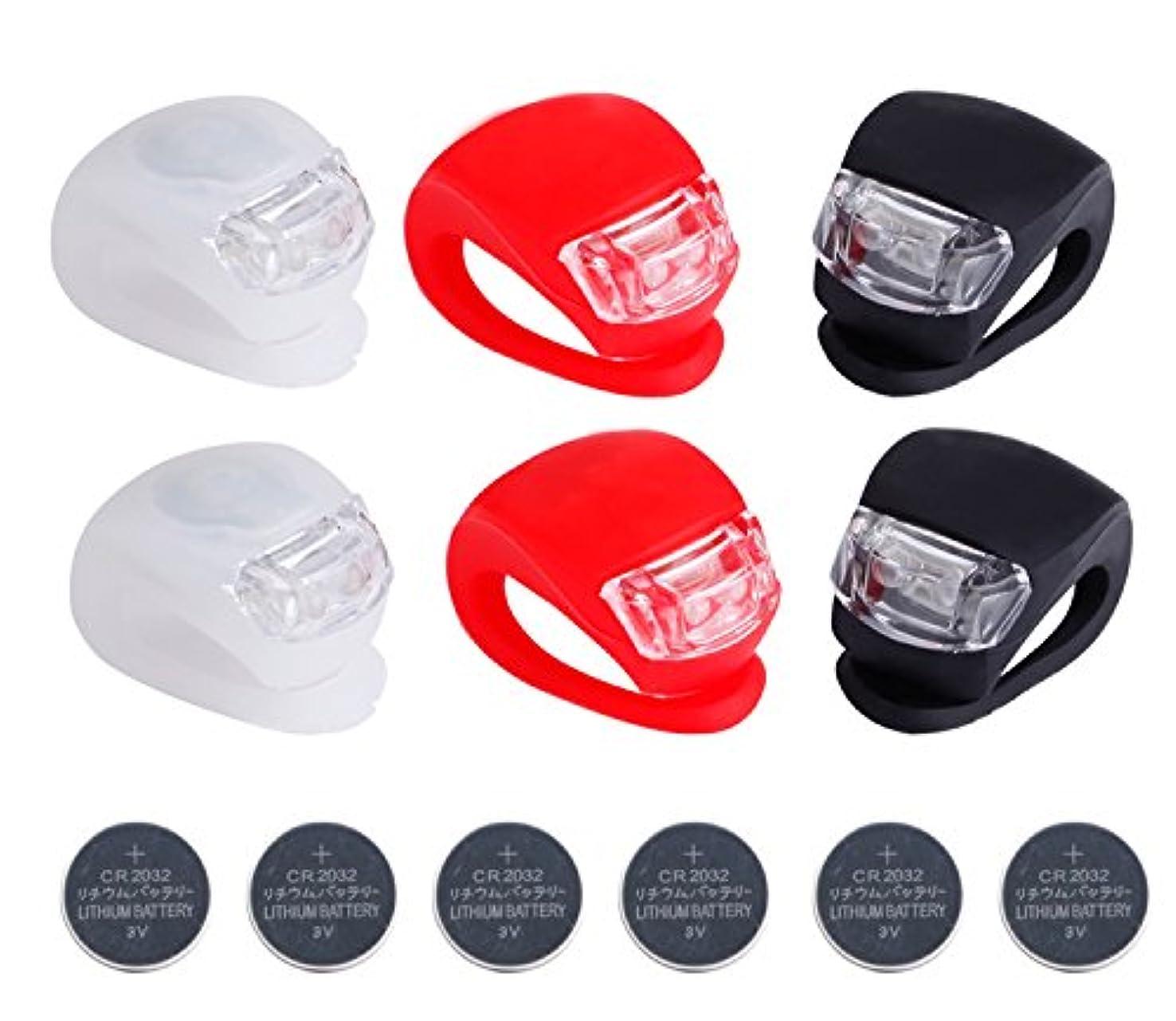 比較宗教的な変形Deruicent 6pcs/set Super Frog Silicone LED Bike Light Multi-purpose Water Resistant Headlight?????Red + White + Black + battery????? by Deruicent