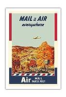 航空便発送 - 小包 - 美国?政?局 - ビンテージな広告ポスター によって作成された メルボーン・ブリンドル c.1940s - アートポスター - 76cm x 112cm
