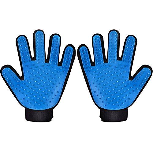 ペット ブラシ 毛取り グローブ マッサージ 静電防止 手袋 犬 猫 毛繕い グルーミング ツール 入浴可能 右手 ブルー