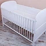Amilian®ベビーベッドバンパーヘッドガード420 x 30 cm、360 x 30 cm、180 x 30 cm、ベビーベッドバンパーバンパーベビーエッジ保護寝具セットプレーンホワイト