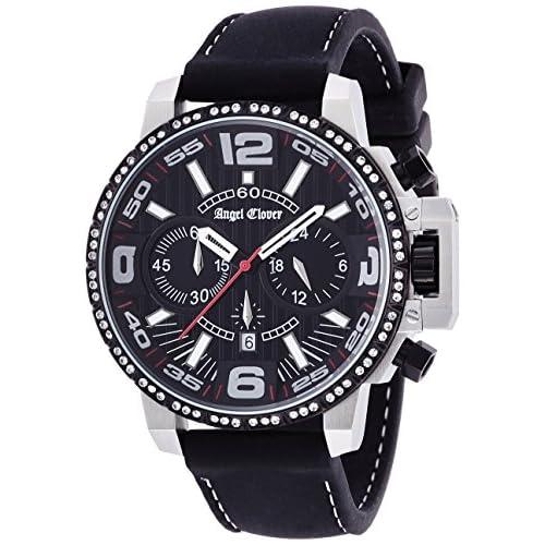 [エンジェルクローバー]Angel Clover 腕時計 タイムクラフト ブラック文字盤 500本限定 スワロフスキー ステンレス/ステンレス(BKPVD) 100m防水 NTC48SBK-LIMITED メンズ