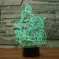 周囲光、 ランプLEDイリュージョンナイトライト子供ベッドサイドナイトライトテーブルデスクランプクリスマスGiftnelsマリオ (Color : Ride Motorcycle)