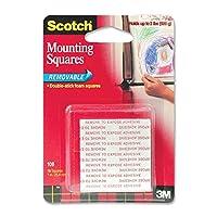 スコッチ(R)取り外し可能なマウント正方形、1x 1インチ、16、正方形グレー(108) 6 Pack 108-6PK.6