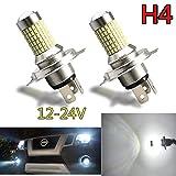 TORIBIO 車用 H4 LED フォグライト デイライト led (DRL) バイク用ledヘッドライト ホワイト 6000K 144個3014LED素子 50000時間寿命 12V 24V LEDバルブ 車検対応 2個1セット