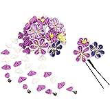 (キョウエツ) KYOETSU成人式 卒業式 花 髪飾り 2点セット つまみ細工 和装 かんざし 7w8200 (紫)