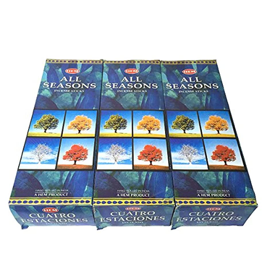 腹痛ブース地殻オールシーズン香スティック 3BOX(18箱) /HEM ALL SEASONS/インセンス/インド香 お香 [並行輸入品]
