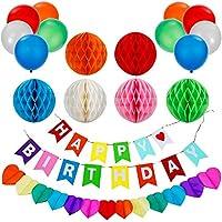 Lictin 誕生日 飾り付け パーティー飾り物 ガーランド HAPPY BIRTHDAYデコレーション バルーン カラフル にぎやか