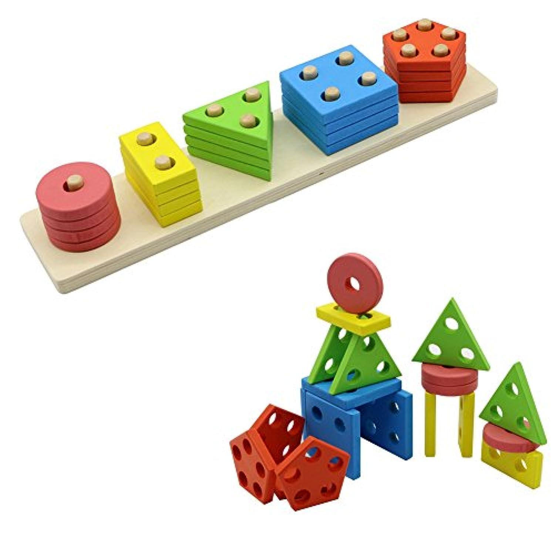 elibeauty木製教育Preschool形状色認識幾何ソートボードブロックスタックと並べ替えChunkyパズルおもちゃfor子供幼児男の子女の子