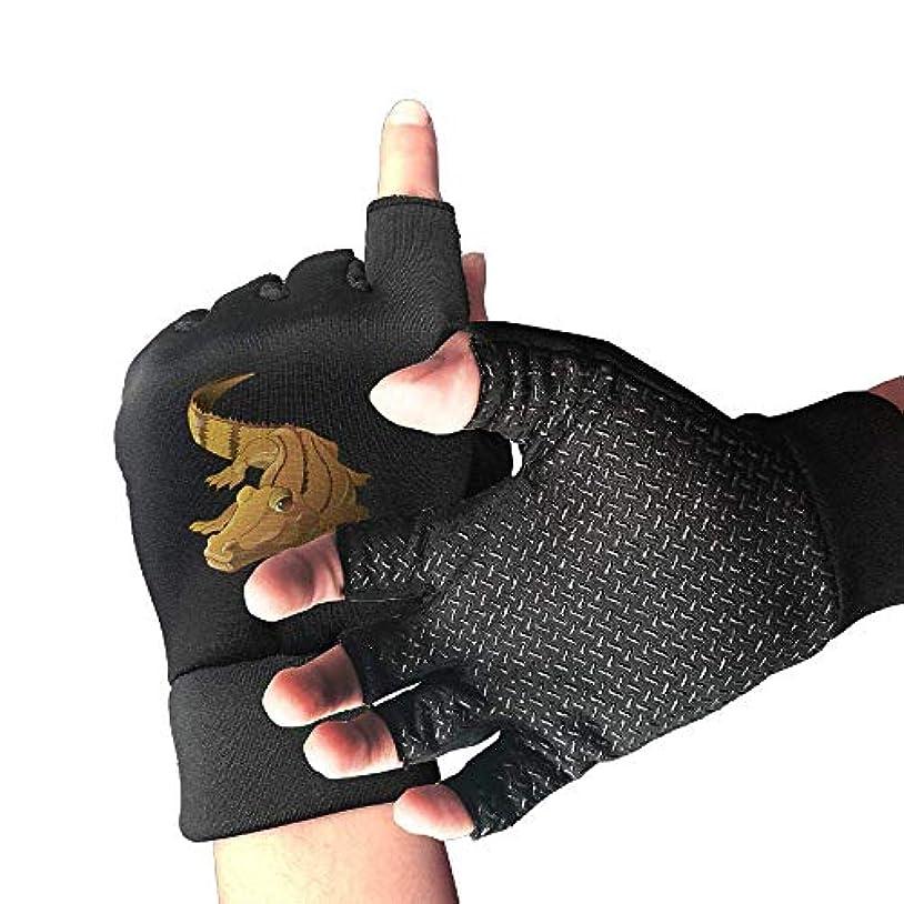 予想する結論役立つサイクリンググローブ大きな目とワニ男性/女性のマウンテンバイクの手袋ハーフフィンガースリップ防止オートバイの手袋
