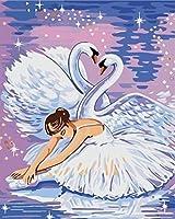 Wowdecor DIY 数字油絵40×50cm - エレガントバレエ女の子そして白鳥の恋人 - ぬりえ 塗り絵 絵画 趣味 インテリア (フレームレス)