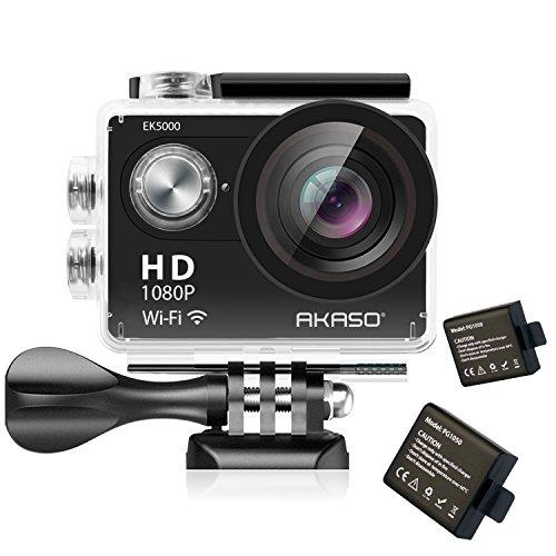 AKASO EK5000 WIFI アクション カメラ スポーツカメラ 1080P 1200万画素 Full HD 30メートル防水 カメラ2インチ LCD バイクや自転車/カート/車に取り付け可能 空撮やスポーツに最適 二つバッテリー&豊富な付属品付き