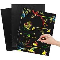 ULTNICE Scratch Paper 2 Pack Sheets Creative DIY Graffiti Sketchbook Kids Toy Notebook Art Set