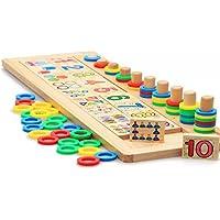 知育 玩具 モンテッソーリ 幼児 子供 教育 教材 木のおもちゃ シリンダー ブロック パズル 木製 視覚 認識 器用 数遊び 幾何学 認知 数字 時計 脳 活性化 はめこみ パズル 棒さし (数や計算)